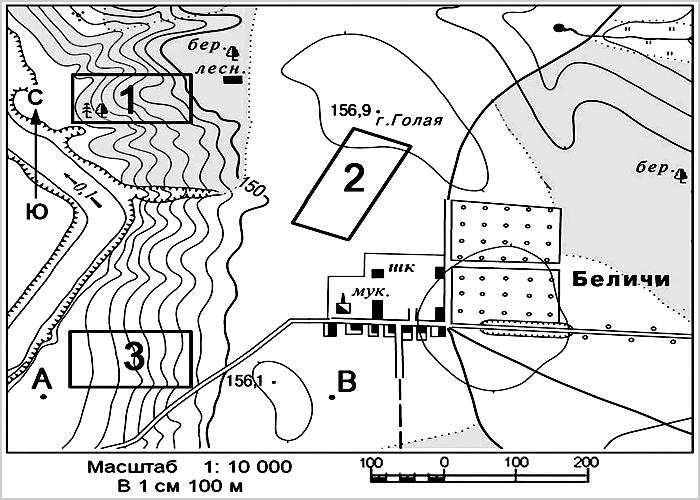 Картинка – образец работы и пример результата топографических работ, топографическая карта рельефа местности.